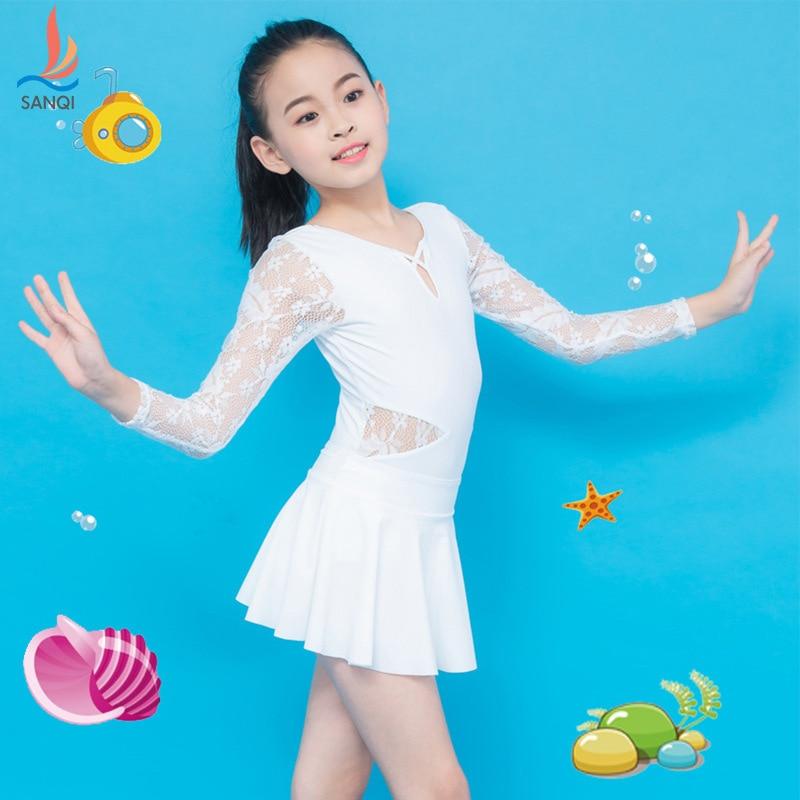 Sanqi KID'S Swimwear Girls Big Boy Baby Princess Dress-One-piece Long Sleeve Cute Swimming Suit