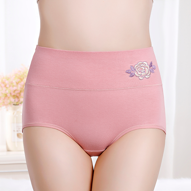 Embroidered underwear women  quality cotton female briefs high waist panties