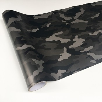 Black Grey Car Wrap Sticker Film Foil Decal Camo Camouflage VinylFor Bike Console Computer Laptop Skin Scooter Motorcycle image