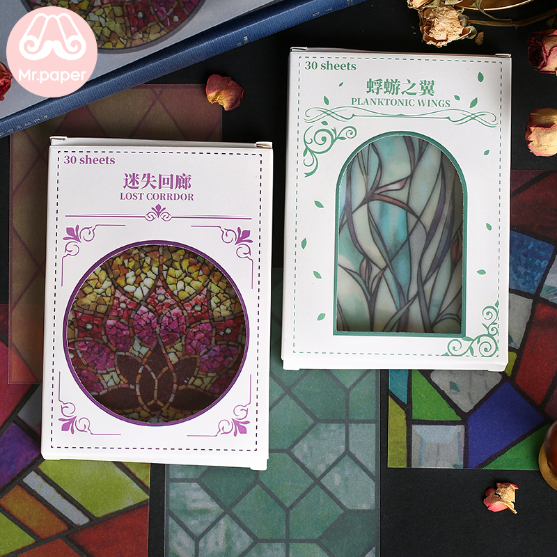 Mr Paper 30 Pcs Creative Vintage Leaves European Retro Window Grille Memo Pads Transparent Sulphuric Acid Paper Loose Leaf Paper