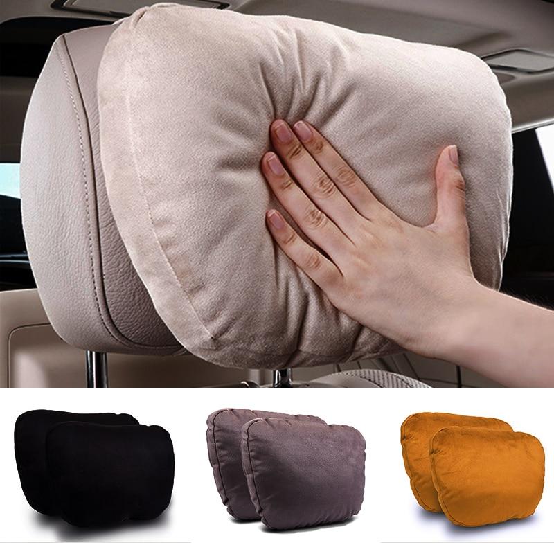 2шт Автомобильный подголовник Maybach дизайн S класс ультра мягкая подушка замша ткань для Mercedes-Benz аксессуары для подушек