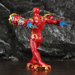 """Image 3 - Оригинальный ML Legends Мститель Железный мужской MK50 светодиодный 6 """"фигурку нано оружие молоток костюм SHF 10TH Thanos Dr stranna 3P игрушки куклы"""