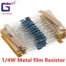 100 pces 680 ohm 1/4w 680r metal filme resistor 1%