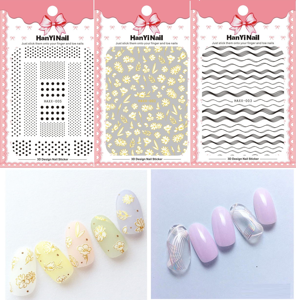 Japanese-style Official Website Celebrity Style 3D Nail Decals With Gum Nail Sticker Nail Ornament HAXX001-007