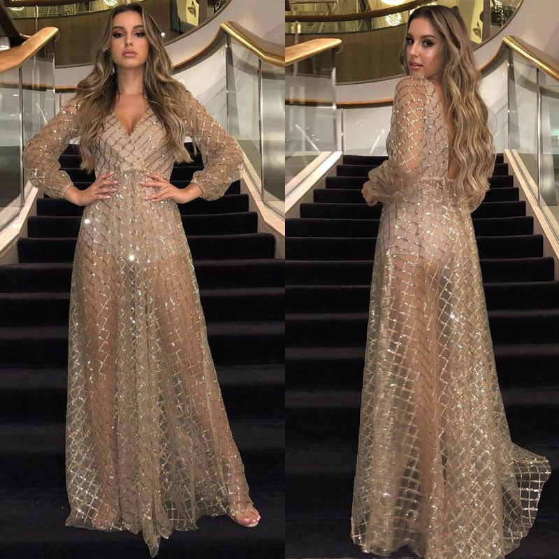 New women's dress wish Amazon pop sexy V-neck open back Sequin dress long skirt