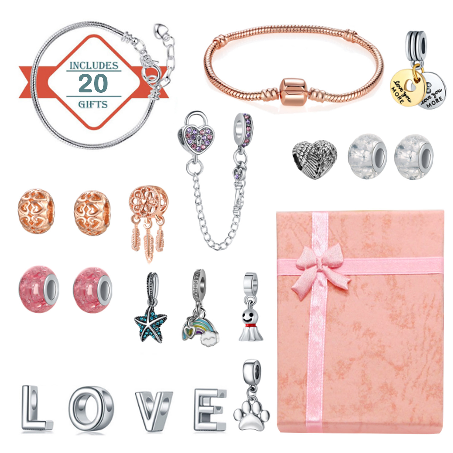 20pcs DIY Bracelet Charm Bead Peandants Jewelry Making Supplies With Present Box For Birthday Valentine Mother Day New Year Gift
