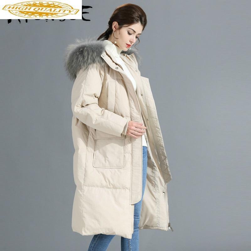 90% White Duck Down Jacket Women 2019 Winter Coat Women Raccoon Fur Collar Korean Puffer Jacket Women Warm Parka Y619 YY1639