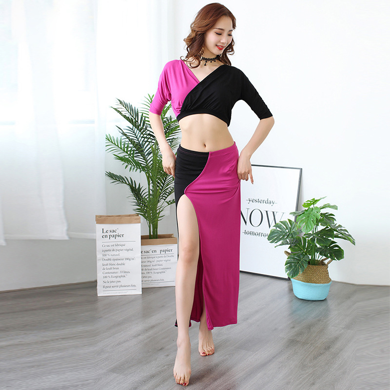 Contrast Color Women Belly Dance Clothes Stretchy Modal Outfits V-neck Belly Dance Practice Costume 2pcs Top Skirt Black Fuchsia