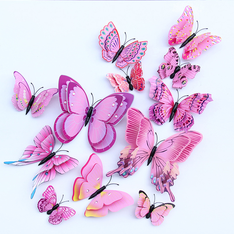 12 pcs/pack 3D Butterfly Wall Sticker Pink Simulation Butterfly Kids Room Bedroom Living room TV Background Decorative Stickers