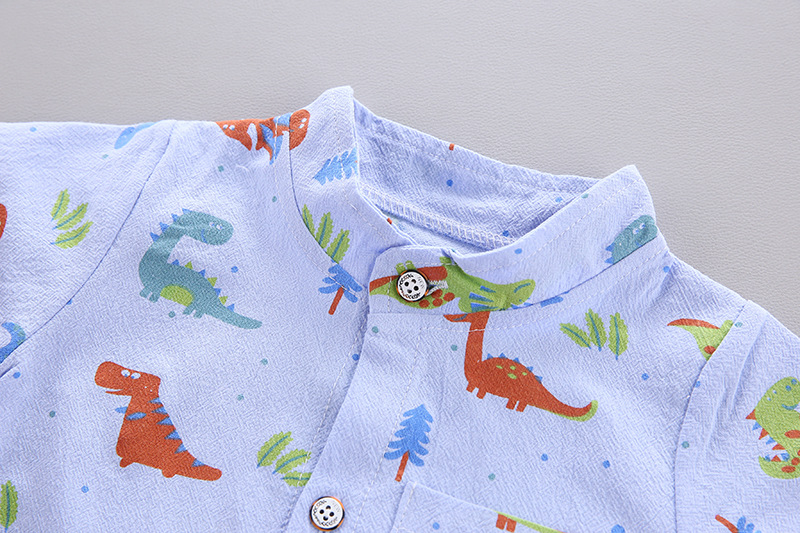 Cute Toddler Boy Summer Set 2021 New Cartoon Dinosaur Print Short Sleeve Shirt + Pants for Kid Baby Boys Clothes 4