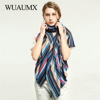 Wuaumx NEW Arrival Winter Scarf For Women Warm Stripe Scarves hijab Ladies sjaal Cotton Viscose Shawl Muffler 180*90cm недорого