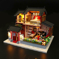 LED Lighting House Model Kit Children Chinese Style DIY Assemble 3D Intellectual Bright Color Miniature Wooden Build Gift Toy