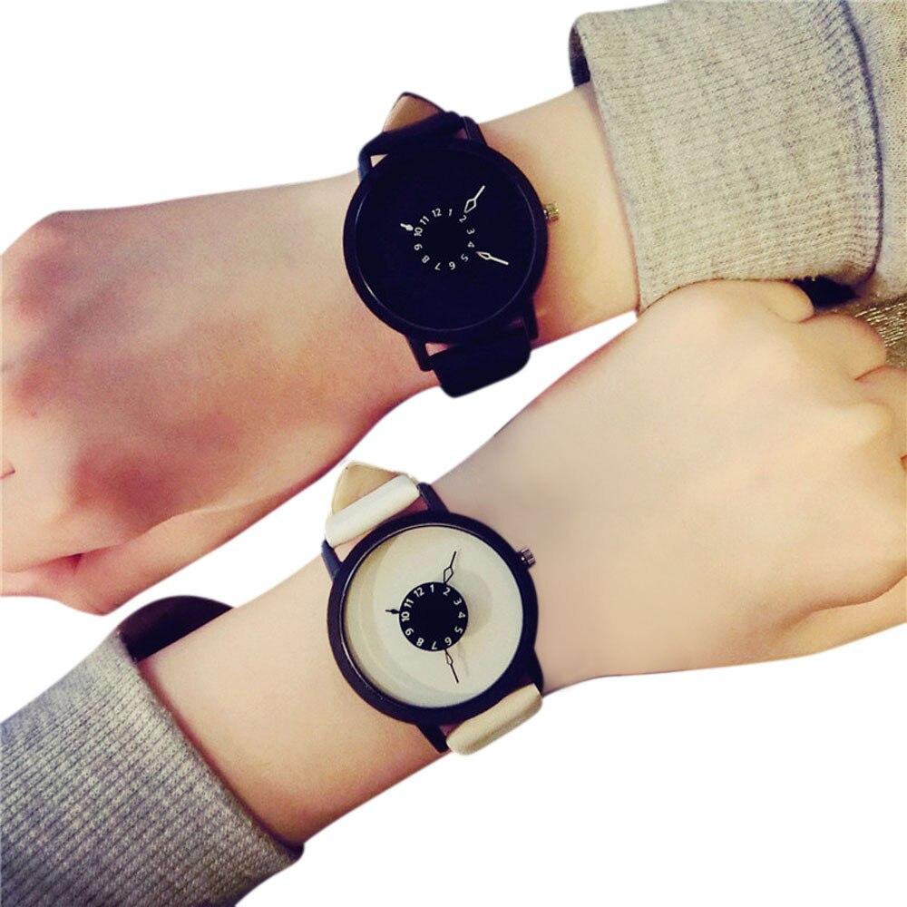 Relógios amantes quartz de couro, relógios de pulso analógicos para homens e mulheres
