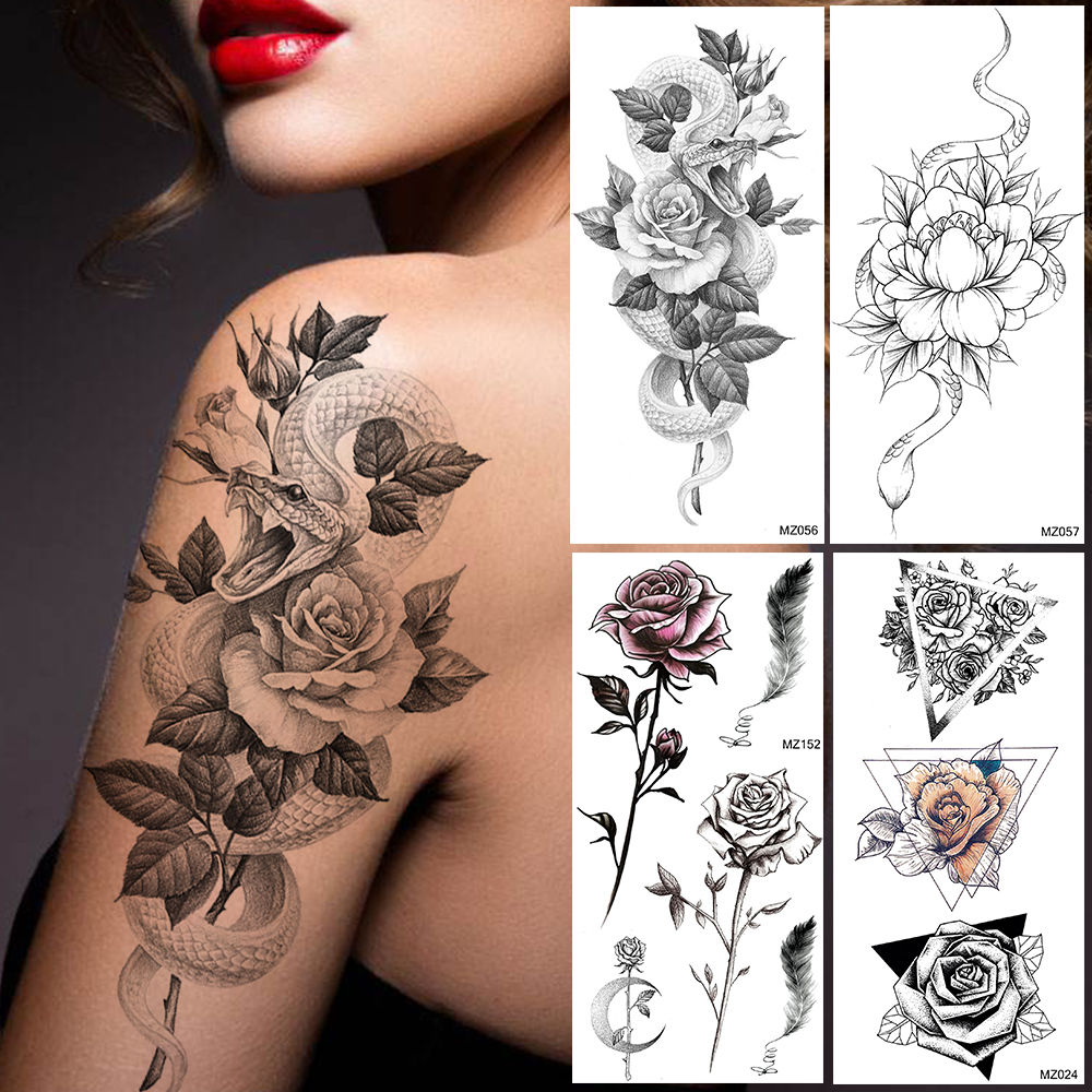 Creative Lotus Snake Temporary Tattoos Sticker For Women 3D Body Art Painting Legs Arm Tatoo Decal Fake Waterproof Black Tattoos