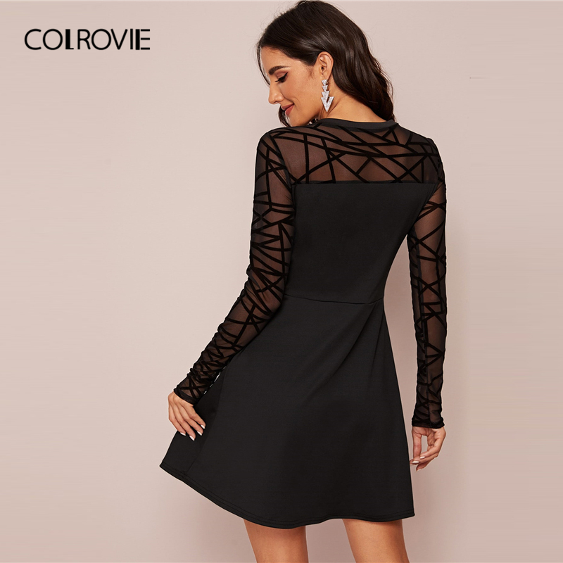 COLROVIE Black Sheer Contrast Mesh Solid Dress Women A Line Mini Dress 2020 New Spring Long Sleeve Ladies Elegant Dresses 1