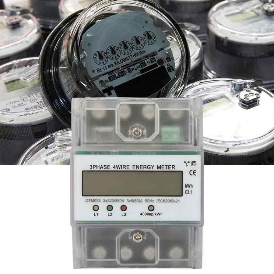 Compteur d'énergie électrique numérique de consommation d'énergie de ca 220/380V 5-80A 3 Phase 4P KWh mètre avec le wattmètre numérique d'affichage à cristaux liquides