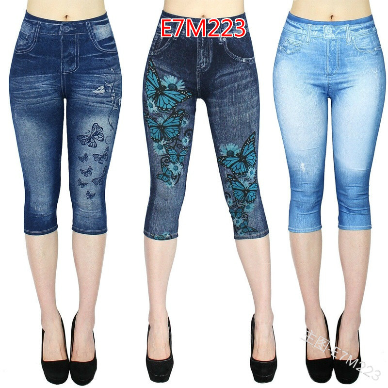 WEPBEL NEW Women's   Capri   Leggings In Jeans 3/4 Summer Leggings Jeggings Skinny Butterfly Printed Jegging   Pants