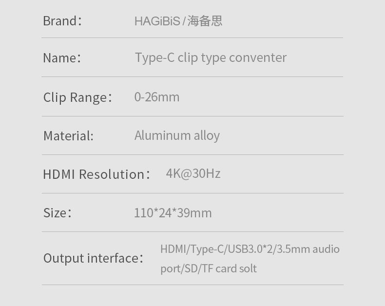 Hagibis type-c hub usb 3.0 hub clamp design aluminum type-c to hdmi alloy clip-type sd/tf card reader audio port for apple imac (gray)