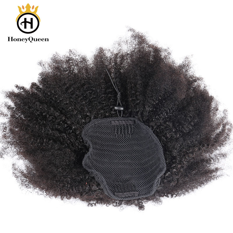 Afro Kinky Curly Ponytail Mongolian Remy Hair Pieces For Women Natural Black Clip In Ponytails Drawstring 100% Human Hair