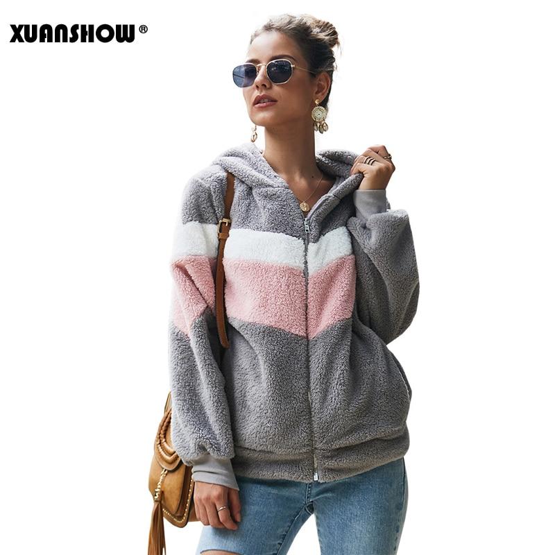 XUANSHOW 2019 Winter Keep Warm Clothes Women Hoodies Sweatshirts Loose Zipper Long Sleeve Pocket Stitching Plush Jacket Coat
