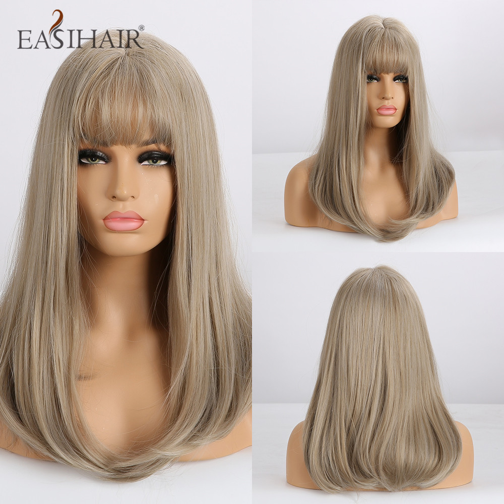 EASIHAIR Medium Straight Brown Synthetic Wigs With Bangs For Women Natural Daily Wig High Density Heat Resistant Wigs