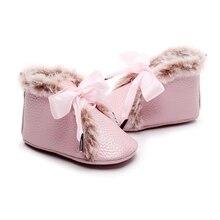 Детские ботинки из искусственной кожи зимние Нескользящие бархатные теплые ботиночки на мягкой подошве для новорожденных девочек и мальчиков, обувь на шнуровке с бантом для малышей