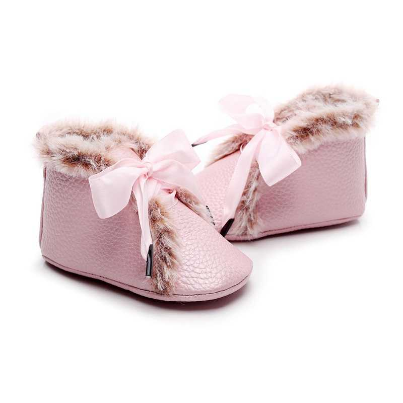 Baby PU Boots Winter Anti-slip Velvet Warm First Walkers Newborn Girls Boys soft Soled Booties Toddler Bowknot Lace-up Shoes
