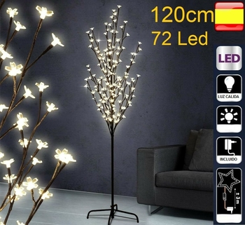 Árbol de navidad con luces led, 1,2m, 120cm, 72 Led, cerezo decorativo