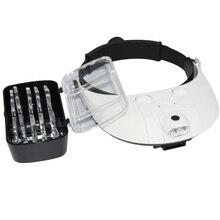 Увеличительное стекло с повязкой на голову со светодиодной лампой, увеличительное стекло для пчеловодческого оборудования 1,0 6.0X, увеличительное зеркало с 5 линзами