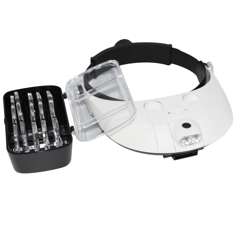 Headband Magnifying Glass With Led Lamp Magnifier For Beekeeping Equipment 1.0-6.0X Multiple Magnification Mirror With 5 Lens