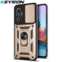 KEYSION-funda a prueba de golpes para Redmi Note 10 Pro, 10S, 9T, 9A, 8, K40, protección de cámara Push Pull, cubierta de teléfono para POCO M3 Pro, X3, NFC, F3