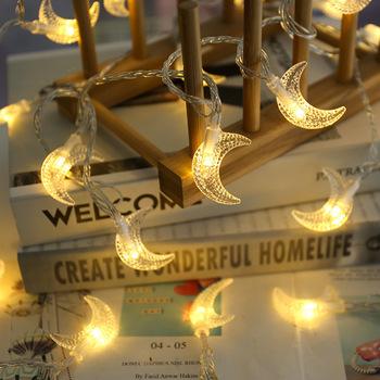 Ramadan mubarak Moon girlanda żarówkowa LED lights ramadan dekoracje na świąteczna do domu oświetlenie Garland eid mubarak decor Ramadan Kareem tanie i dobre opinie VOILEY CN (pochodzenie) List DB128 Metal Eid al-fitr arty Decor Ramadan Decoration Muslim