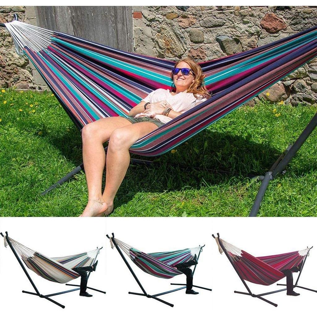 Rede dupla 200*150cm de acampamento pendurado hammock swing cadeira preguiçoso lona redes ao ar livre cadeira de balanço