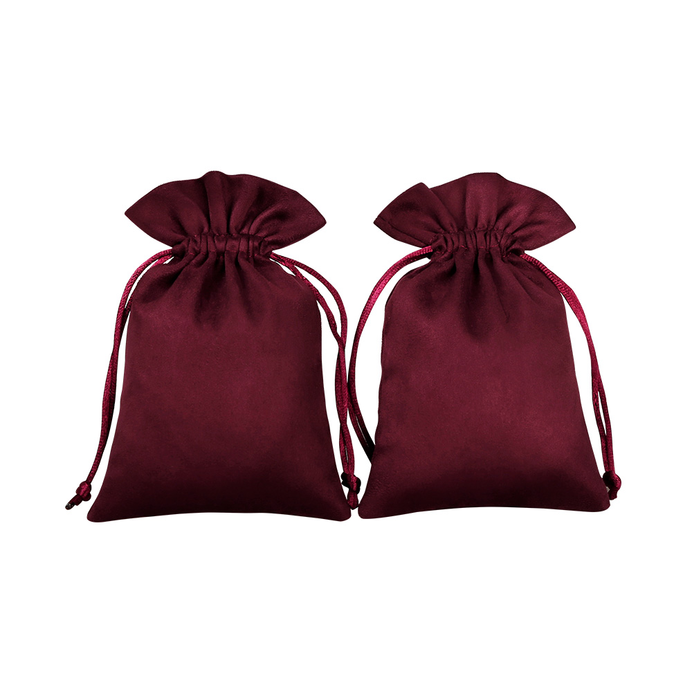 100 Jewelry Packaging Chic Velvet Drawstring Pouches Wedding Wine Red Flannel Fungus Gift Bags Can Personal Customized Logo