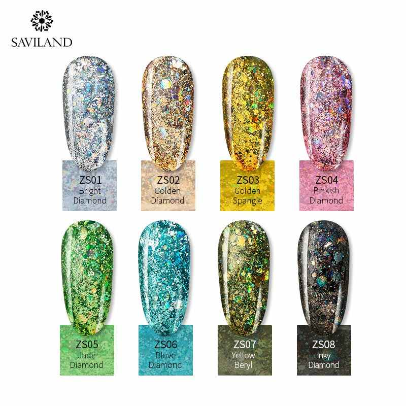 Saviland Glitter Nail Gel Polish Charmant Pure Kleuren Uv Led Nail Schilderij Gel Kleur Voor Nagel Art Design Lak