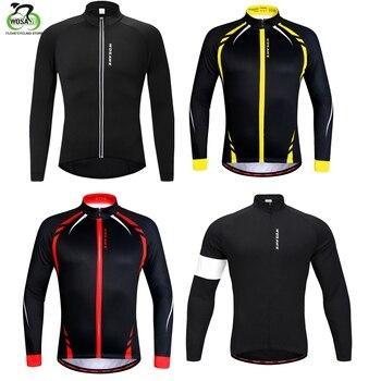 WOSAWE осенне-зимние куртки для велоспорта теплая флисовая куртка на молнии с карманами с длинным рукавом Джерси одежда Ciclismo MTB Bike Racing мужская ...