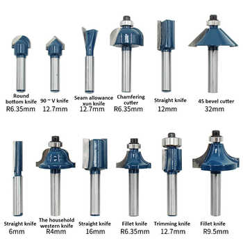 """12pcs 1/4\"""" Shank Wood Router Bits Woodworking Milling Cutters Engraving Milling Cuttings Tools Wood Trimmer With Box"""