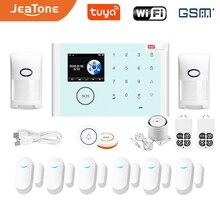 Jeatone туя беспроводной GSM домашней охранной сигнализации DIY системы безопасности комплекты ЖК-дисплей с сенсорным экраном и клавиатурой управления на девяти языках