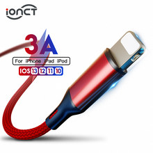 Ionct 3A Cepat Pengisian Nilon Data Kabel USB untuk Iphone 6 7 8 11 X XS XR iPad Mini Kabel Ponsel charger 0.25M 1M 2M Tali Kawat(China)