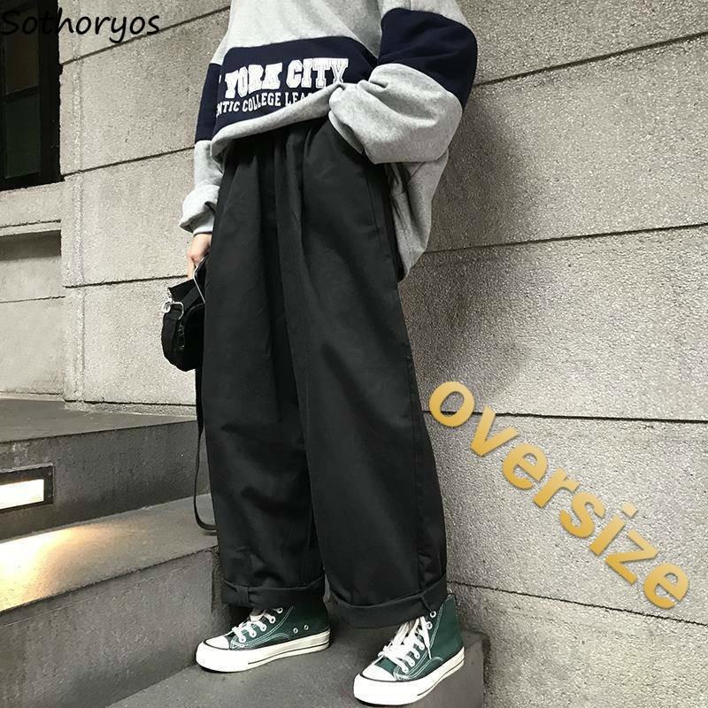 Women Pants Student Loose Ins Straight Korean Style Wide Leg Trousers Simple  Retro Kpop Ulzzang Oversize Harajuku Leisure Daily