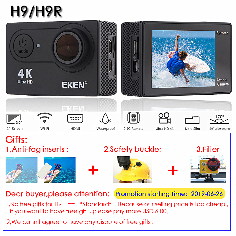 "Original EKEN H9 / H9R Action Camera Ultra HD 4K / 30fps WiFi 2.0"" 170D Underwater Waterproof Cam Helmet Vedio go Sport pro Came-1"