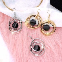 Fashion Multilayer Circles Geometric Drop Earrings Black Round Rhombus Gold Color Rhinestone Earring lady Party Jewelry