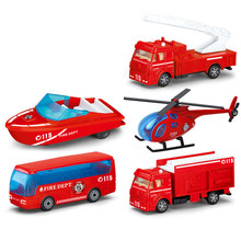 5 Pcs/lot Kids Car Toy Models Fire Truck 1:72 Scale Alloy Diecasts Toys Vehicles Bus Helicopter Speedboat Cars Toys for Boy Y021(China)