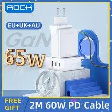 ROCK 65W GaN Tech ładowarka 3 porty USB typ C PD szybka ładowarka z QC 4.0 3.0 dla Xiaomi iPhone 12 Samsung Huawei Tablet Laptop