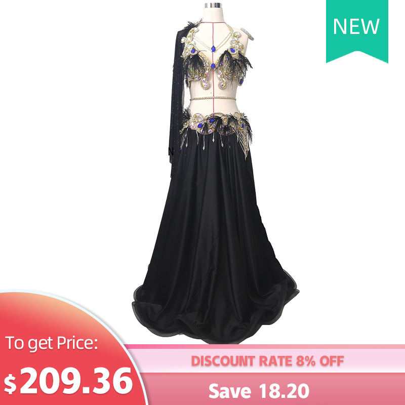 New Belly Dance Dress Women's High-end Custom Super Flash Diamond Plus Feather Personality Dance Suit