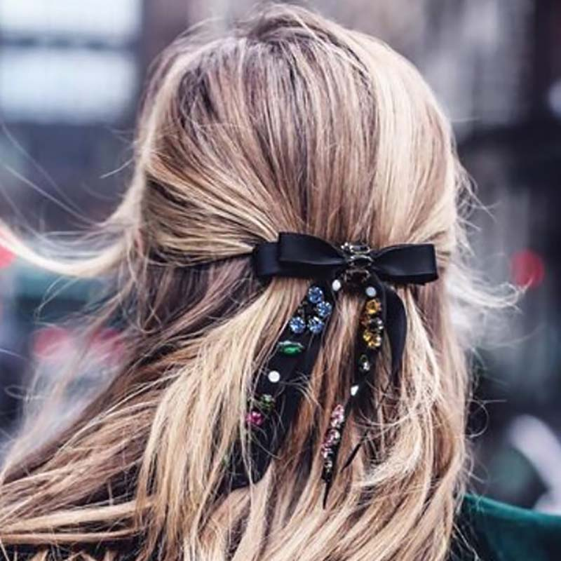 Xugar Fashion Rhinestone Bow Hair Clips Velvet Pearl Diamond Hairpins For Girls Crystal Knot Barrettes Womens Hair Accessories