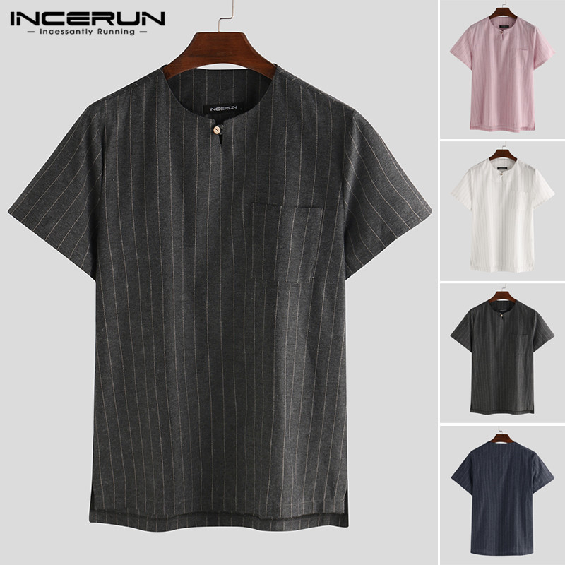 2020 Summer Striped Shirt Men Short Sleeve Streetwear V Neck Casual Blouse Breathable Summer Brand Shirts Camisas Hombre INCERUN