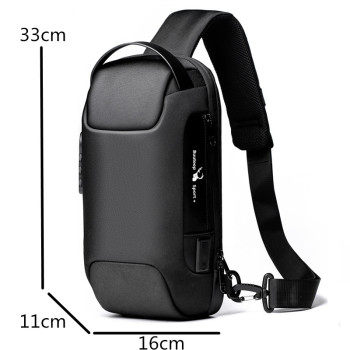 Men's Waterproof USB Oxford Crossbody Bag Anti-theft Shoulder Sling Bag Multifunction Short Travel Messenger Chest Pack For Male 2