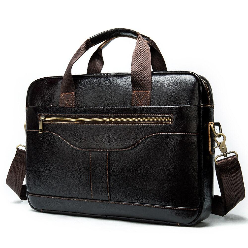 Leather Briefcases Men Men's Handbag Retro Leather Handbag Business Briefcase Messenger 14 Inch Laptop Bag Portable KUMON