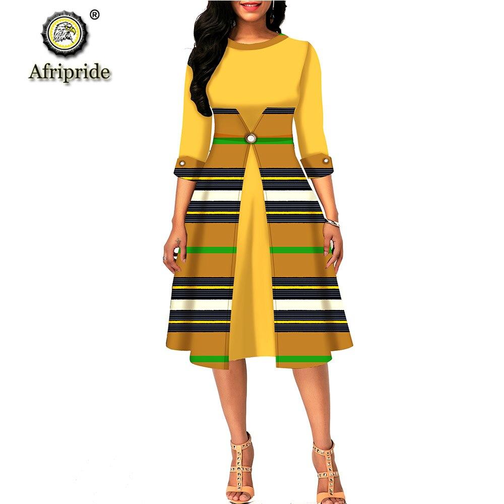 African Dresses For Women Ankara Print O-neck Half Sleeve Knee Length Dress Dashiki Wear Floral A-line Dress AFRIPRIDE S1925075